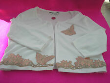 LADIES WHITE CARDIGAN LACE TRIM BUTTERFLIES FLOWERS BEIGE PINK BEADS SIZE 12