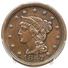 1847 N-37 R-2 PCGS XF 45 Braided Hair Large Cent Coin 1c