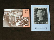 2 National Postal Museum Postcards: Penny Black, Sorting Machine, London 1989