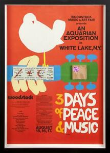 WOODSTOCK POSTER FRAMED ORIGINAL TICKETS & WOOD STAGE PIECE MUSIC CONCERT VG-FN
