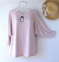 New~Large~Pink Pearl Pullover Sweater Dolman Sleeve Relaxed Knit Top~12/14/L
