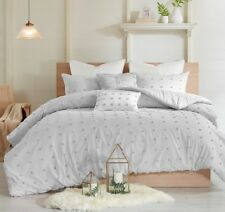 Chic Gray Twin Queen Cal King Comforter Set : Tufted Cotton Grey Jacquard Quilt