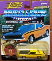 Johnny Lightning Die-cast 1:64 1970 PLYMOUTH BARRACUDA Yellow CUDA  Cragar Mags