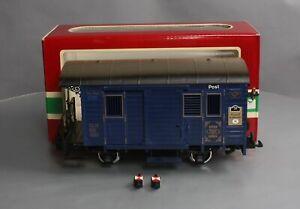 LGB 1985 G Scale Blue Postal Car (Metal Wheels)/Box