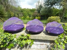 Food Cover Carrier Fruit Bowl - Set of 3 Bamboo Netting Food Covers - Purple