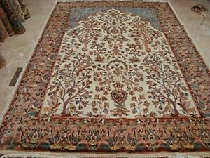 New Tree of Life Peace Birds Area Rug Wool Silk Hand Knotted Carpet (10 x 7)'