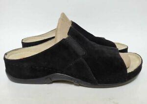 Berkemann Womens 9 Sephira Slide Sandals Black Suede Wedge Heel Open Toe Slip On