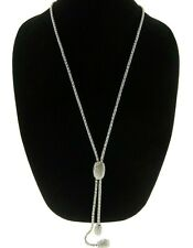 """Chico's Necklace Pave Crystal Y Lariat 31 - 37"""" N396"""
