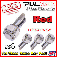 4 X W5W ROJO CANBUS T10 501 LED Bombilla Lateral 5 SMD