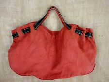 OLD NAVY SHOULDER WOMEN HANDBAG COTTON JUTE COW LEATHER CORAL COLOR