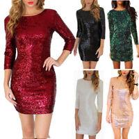 Women Sequin Evening Club Dress Long Sleeve Mini Bodycon Party Backless Dress