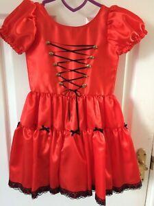 Handmade Girls Satin Red Dress Age 4-5 years, Black Lace Pirate / Halloween