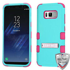 For Samsung Galaxy S8 Hybrid Cover Shockproof Case with Stand Teal Green/Pink