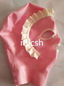 Whole Suit Rubber 100% Latex Rubber Pink Cosplay Costume Hood Masque 0.4mm S-XXL