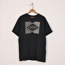 Electric Skate Surf Grunge Black Beige Logo Graphic Print S/S T-Shirt Mens L