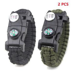 2 Pcs 20 in 1 Paracord Survival Bracelet Outdoor SOS Whistle LED Compass Flint