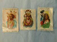 Tokio Cigarette Silks Vtg Lot Of 3 Native Americans White Swan Black Eye Wetcuni
