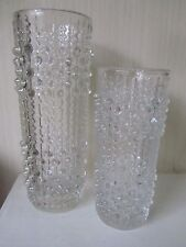 Vintage Sklo Union Hermanova Czech Glass 2 sizes Vases Candle drip perfect