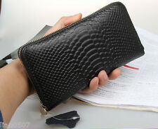 Women's Real Leather Zipper Wallet Black Purse Lady's Credit Card Pocket