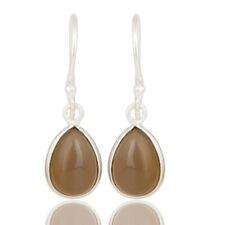 Chalcedony Gemstone Bezel Set Brass Earrings Gorgeous Fashion Jewelry
