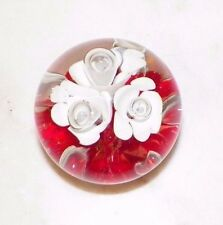 """VINTAGE STC ST CLAIR ART GLASS PAPERWEIGHT RED WITH WHITE FLOWERS 2"""""""