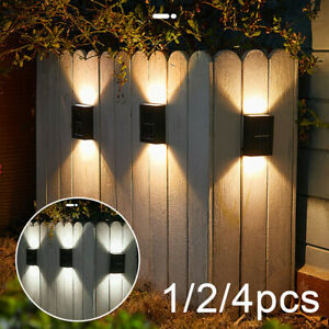 Super Bright LED Solar Powered Wall Light Door Fence Outdoor Garden Lighting UK