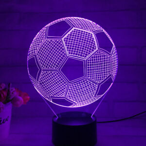 5W Football Model 3D LED Soccer Ball Table Lamp Night Light 7 Color Touch Switch
