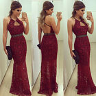 Long Evening Ball Prom Gown Formal Bridesmaid Wedding Cocktail Party Lace Dress