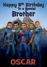 thunderbirds personalised A5 Birthday card son brother grandson nephew name age.