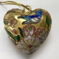 """Cloisonné Enamel Puffy Heart Hanging Ornament Bluebird Bird Flowers 2"""""""