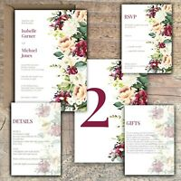 Personalised Luxury Rustic Wedding Invitations IVORY & PEACH & MULBERRY PK 10