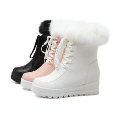 Womens Fur Top Winter Snow Hidden Wedge Heel Lace Up Ankle Boots Shoes All UK Sz