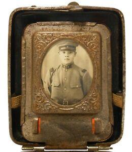 RARE WWII ERA JAPANESE WOMAN'S DEC ENAMEL CIG BOX W/B & W SOLDIER'S PHOTO/MIRROR