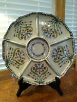 VINTAGE CARVALHINHO PORTO PORTUGAL FAIENCE HAND PAINTED DIVIDED SERVING TRAY
