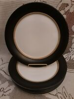 "Set of 6 Pfaltzgraff IVORY WITH MATTE BLACK RIM 10-3/4"" Dinner Plates PERFECT!"