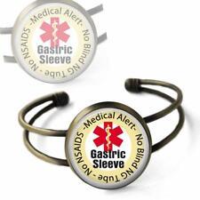 Gastric Sleeve Medical Alert Cuff Bracelet Bronze Glass Dome Bariatric Surgery