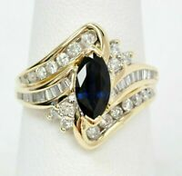 2 Ct 14K Yellow Gold Over Marquise Blue Sapphire & Diamond Statement Ring