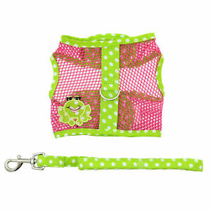 Cool Mesh Dog Harness Under the Sea Collection - Frog Green Dot and Pink