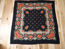 "Russian Style Black Shawl 51"" x 50"" Floral Design Scarf"