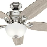 Hunter Fan 54 in Casual Brushed Nickel Ceiling Fan w/ Light Kit & Remote Control