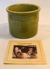 "Longaberger 1 Pint green Crock with coaster 3.5"" x 4.5"" • new"