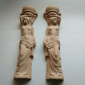 Pair Wood Carved Aphrodite Greek Sculpture Candle holder Fireplace Balusters Set