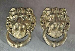 "Vintage 4"" Cast Metal Brass Lion's Head Ornaments, Door Knockers #8"