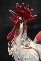 Murano Italian Art Glass - GIANT ROOSTER - *Bright Red Tail Feather* VERY HEAVY