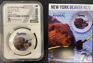 2021 Cook Is. S$5 New York Beaver MS70 NGC U.S. State Animal Series