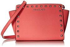 NWT Michael Kors Selma Top Zip Pyramid Stud Leather Messenger coral silver bag