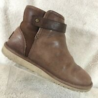 Ugg Australia Rella Tan Leather Shearling Lined Winter Ankle Boots Women's 6