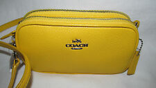 New Coach Canary Yellow Small Crossbody Pouch Pebbled Leather Shoulder Bag Purse