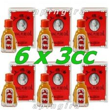 6 x 3cc Red Siang Pure Menthol Peppermint Oil Cold Relieve Dizziness