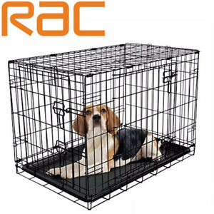 Dog Puppy Cage Pet Folding 2 Door Crate with Plastic Tray Small 24-inch Black S